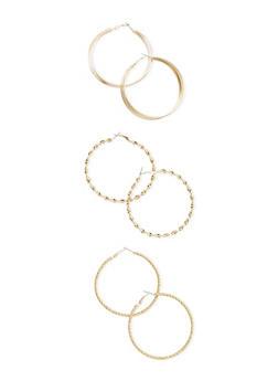 Set of 3 Twist and Layered Hoop Earrings - 3122069754198