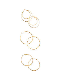 Set of 3 Layered Glitter and Bamboo Hoop Earrings - 3122069754204