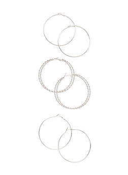 Set of 3 Hoop Earrings with Glitter Finishes - 3122069754256