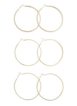 Set of 3 Large Hoop Earrings - 3122070437200