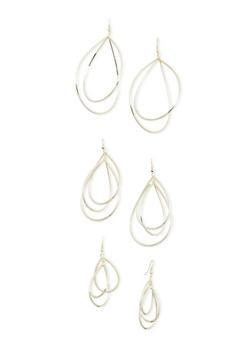 Set of 3 Sculptural Drop Earrings - 3122071432004