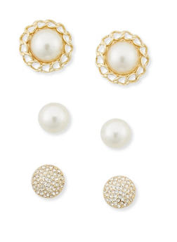 Set of 3 Pearl and Rhinestone Earrings - 3122071432052