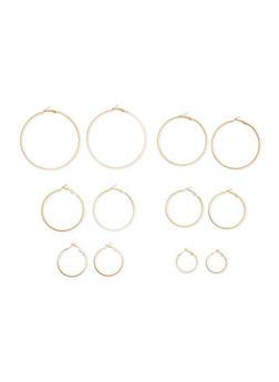 6 Piece Textured Hoop Earrings Set - 3122072371067