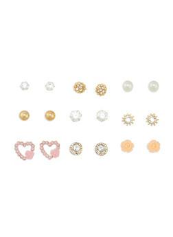 Assorted 9 Piece Stud Earrings Set - 3122072372165