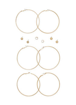 Set of 3 Etched Hoops and Sparkling Dome Stud Earrings - 3122072426360