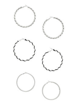 3 Twisted Hoop Earrings Set - 3122072694918