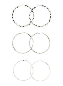 Set of 3 Assorted Hoop Earrings - 3122072695727