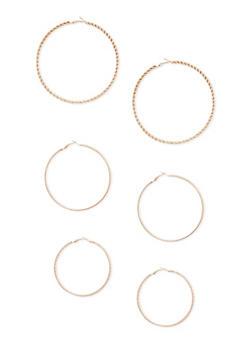 Assorted Multi Size Hoop Earrings Set of 3 - 3122072696421