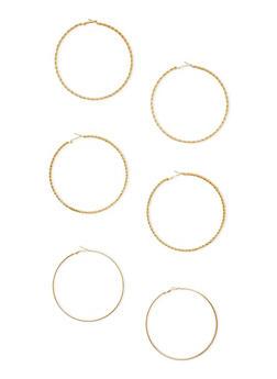 3 Large Hoop Earrings Set - 3122072696428