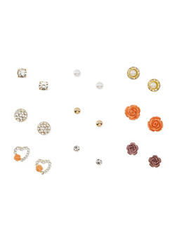 Set of 9 Assorted Stud Earrings - 3122072696459