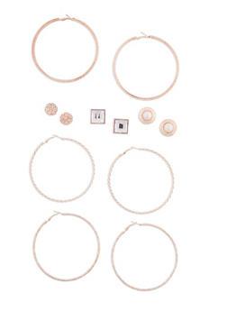Set of 6 Assorted Hoop and Stud Earrings Set - 3122072697139