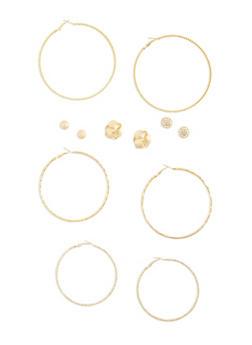 Set of 6 Etched Hoops Rhinestone Stud Earrings Set - 3122072697140