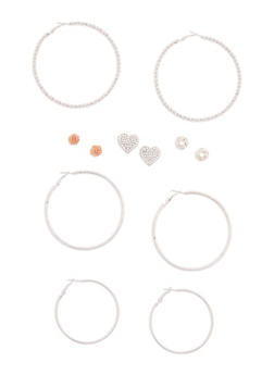 Set of 6 Assorted Hoop and Stud Earrings Set - 3122072697141