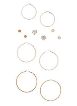 Set of 6 Assorted Hoop and Stud Earrings Set - 3122072697141