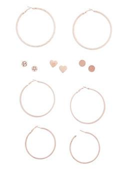 6 Piece Assorted Studs and Hoop Earrings Set - 3122072697143