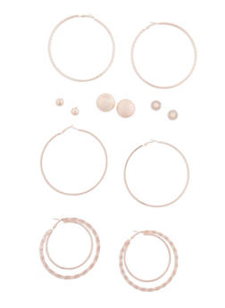 6 Piece Hammer Dome Hoop and Studded Earrings Set - 3122072697145