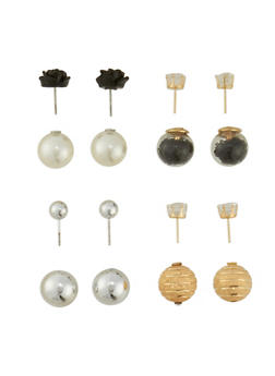 4 Piece Assorted Textured Earring Set - 3122072697204