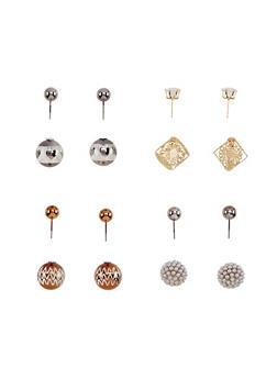 Assorted 4 Piece Textured Stud Earrings Set - 3122072697207