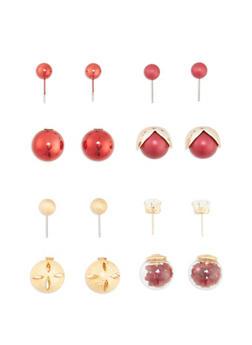 Assorted 4 Piece Textured Earring Set - 3122072697208