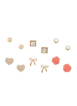 Set of 6 Stud Earrings Set - 3122072697268