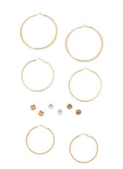 6 Assorted Hoop and Stud Earrings Set - 3122072697272
