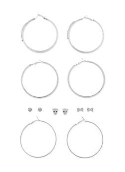 Set of 6 Metallic Hoop and Stud Earrings Set - 3122072697273