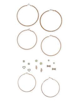 Set of 9 Assorted Stud And Hoop Earrings Set - 3122072697277
