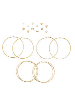 Assorted 9 Piece Textured Earring Set - 3122073807897