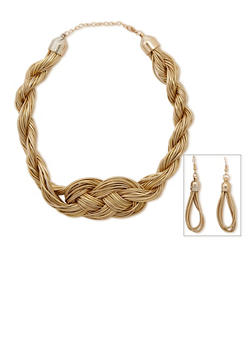 Braided Wire Necklace and Earrings Set - 3123003200203