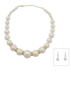 Pearl Rhinestone Necklace and Earrings Set - 3123003200225