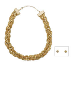 Braided Mesh Necklace and Stud Earrings Set - 3123003200226