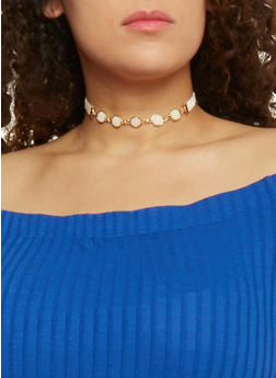 Velvet Choker with Chained Stones - 3123003200703