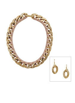 Woven Curb Chain Necklace and Earrings Set - 3123003200715