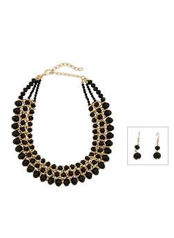 Beaded Metallic Necklace and Drop Earrings Set - 3123003201188