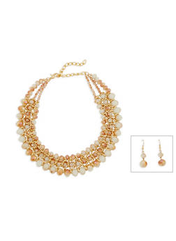 Beaded Metallic Necklace and Drop Earrings Set - 3123003201188