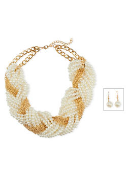 Woven Pearl Chain Necklace and Earrings Set - 3123003201310