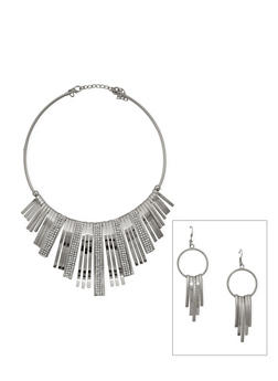 Metallic Fringe Collar Necklace and Earrings Set - 3123003201344