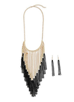 Metallic Fringe Necklace and Drop Earrings Set - 3123003201508