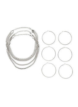Set of 6 Multi Textured Necklaces and Hoop Earrings - 3123003202131
