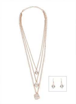 Tiered Rhinestone Cube Necklace and Earrings Set - 3123003202133