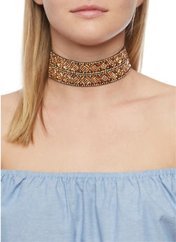 Double Row Mirror Beaded Choker - 3123018430405