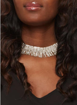 Rhinestone Fringe Choker with Stud Earrings - 3123018431313