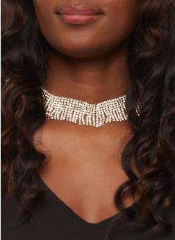 Rhinestone Fringe Choker with Stud Earrings - 3123018431313