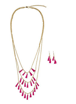 Tiered Tassel Chain Necklace and Earrings Set - 3123018431462
