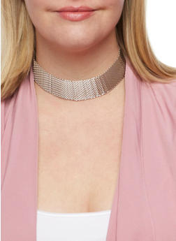 Mesh Choker and Stud Earrings Set - 3123018432929