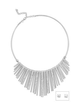 Metallic Fringe Collar Necklace with Rhinestone Stud Earrings - 3123018435436