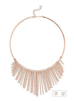 Metallic Fringe Collar Necklace with Rhinestone Stud Earrings - 3123018435436