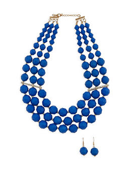 Large 3 Row Beaded Necklace and Stud Earrings Set - 3123018436475