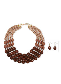 Multi Layer Beaded Ombre Necklace with Matching Drop Earrings - 3123018436484