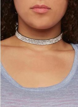 Faux Suede Rhinestone Choker Necklace Set - 3123018436611